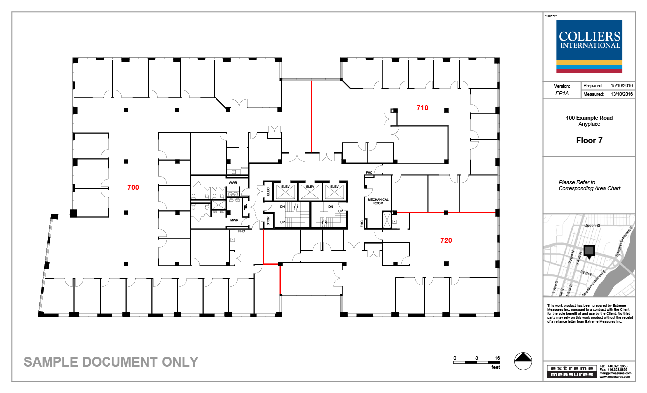 As built floor plans elevations extreme measures inc for Office floor plan samples